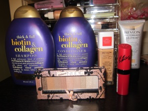 Organix Biotin & Collagin Shampoo & Conditioner (for full and thick hair) Revlon Nearly Naked Foundation in Warm Beige, Revlon Photoready BB cream, Physicians Formula Natural Nude eyeshadow palette and the Kate spade edition lipstick by Rimmel # 110.