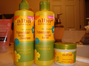 Alba Botanica Pore Purifying Pineapple Cleanser, Complexion Balancing Hibiscus Toner and Smoothing Jasmine & Vitamin E Moisturizer