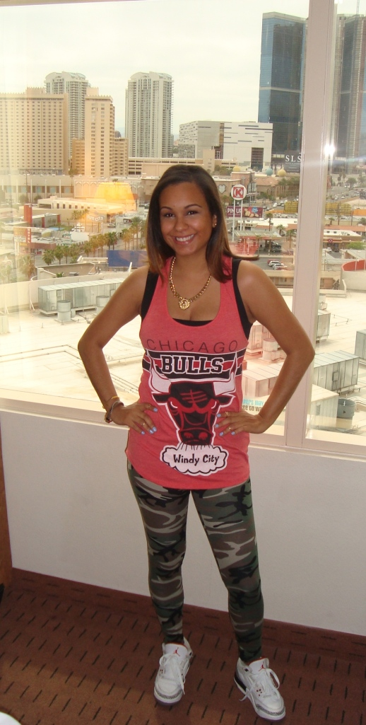 Hood Rat Chic Chicago bulls tank-Forever 21 Camo Leggings-Love Culture Jordan 3's - Retro