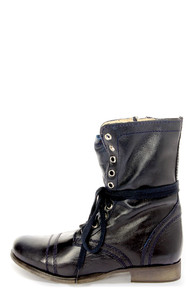 Steve Madden Troopa- Blue Combat Boots- LuLus.Com $99