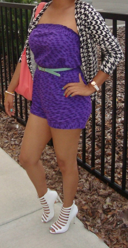 White Caged Heels -Shoedazzle Belt- Forever 21 Romper- Walmart Coral Bag- Ross Stores (Roxy Name Brand) Twist Wire Head Piece- American Apparel