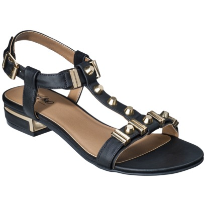 Mossimo Patrice Block Heeled Sandal with Gold Studs - Black