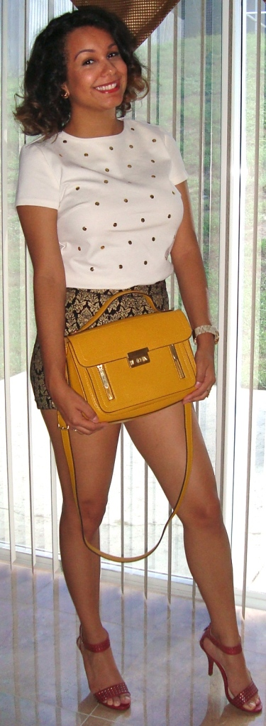 Mustard Bag -Phillip Lim for Target Dotted Top- Michael Kors via TJmaxx Printed Black & Gold Shorts- Forver 21 (old season) Studded Red Heels- Target