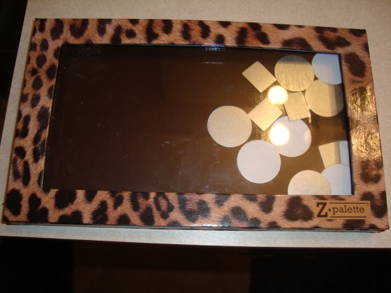Leopard Print Z- Palette with magnetic stickers inside.