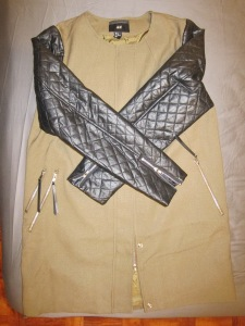 Woven Jacket with quilted faux leather sleeves from H&M Plus Size