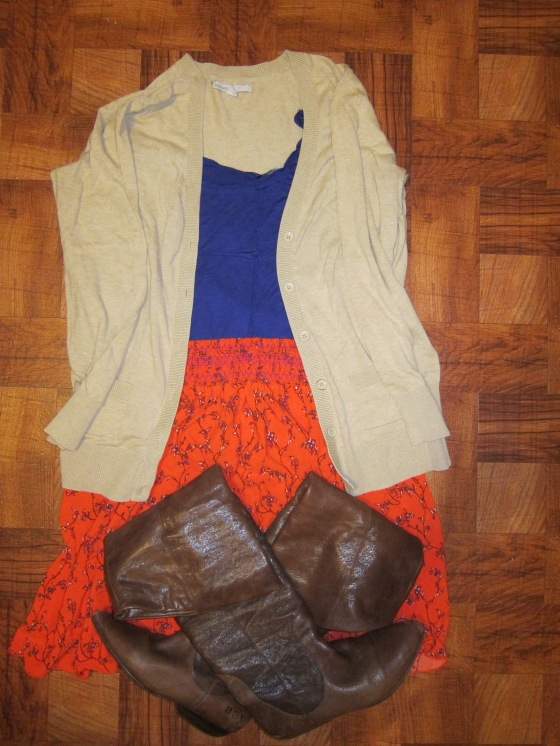 Bright Orange skirt & Cardigan from Old Navy Blueish-purple tank from H&M  Boots: Lucky Brand