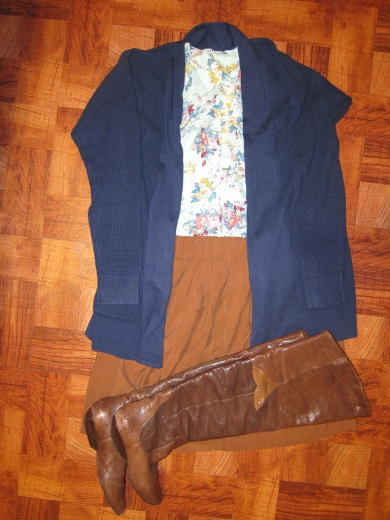 Navy Blue Cardigan from Old Navy Flowered buttoned shirt and faux suede skirt from Forever 21  Boots once again from Lucky Brand