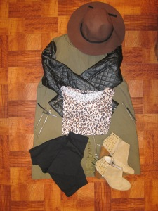 Quilted jacket, hat and leopard top: H&M Studded booties: Zar a Leggings: Target