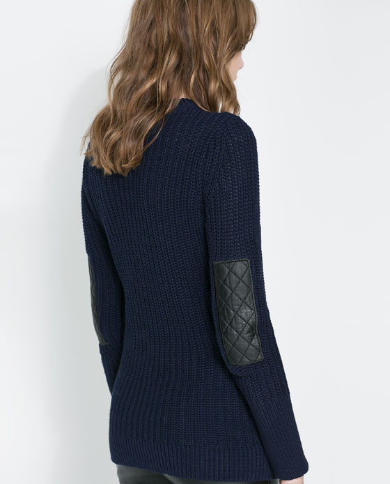 Zara- Long sweater with elbow patches & front zip features $79.99