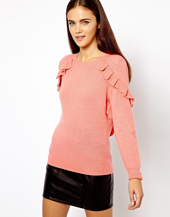 River Island for Asos-Frill Shoulder Sweater $62.29