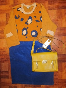Dressy: Phillip Lim Leopard silk sleeved sweater, top handle crossbody bag and Old Navy corduroy blue skirt