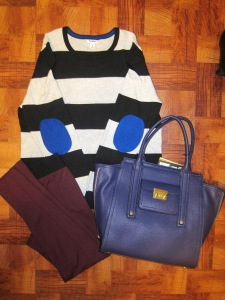 Casual: Old Navy striped sweater with blue elbow patches, Target burgundy leggings & Phillip Lim tote