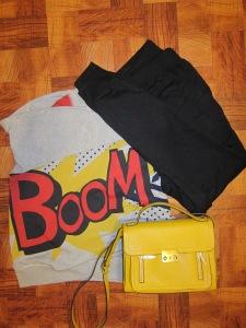 Casual: Phillip Lim Boom sweatshirt & top handle crossbody bag h&m tapered sweats