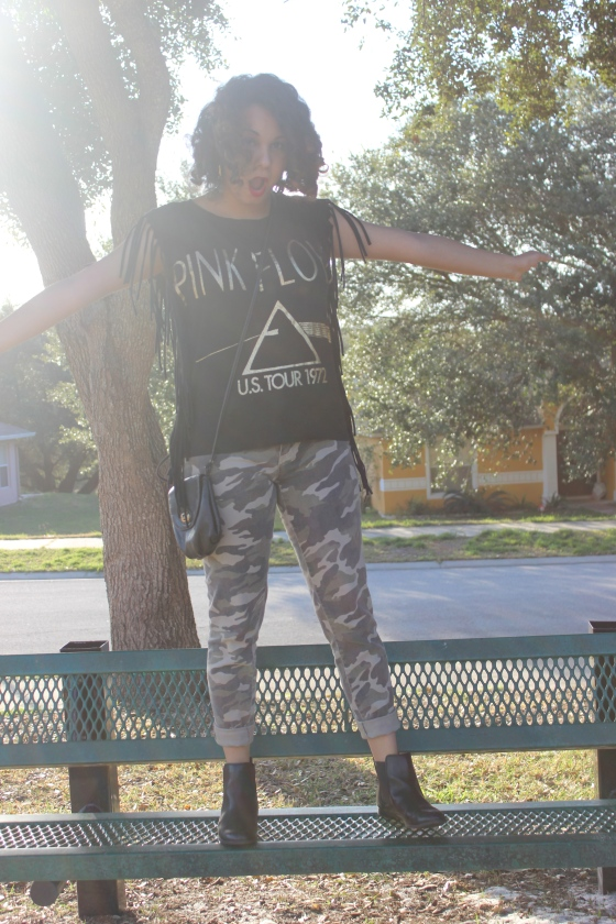 fun, playground, pink floyd, t-shirt, camouflage pants, boots, combat, fringe,