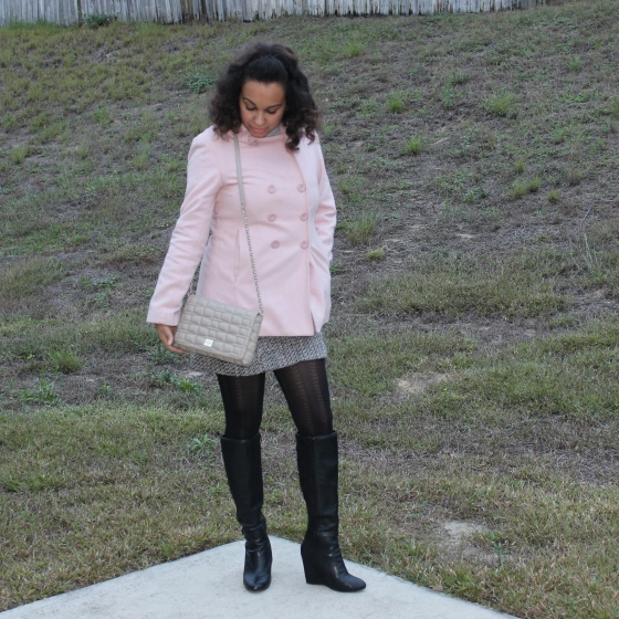 peacoat, pink, coat, kate spade, quilted bag, tights,