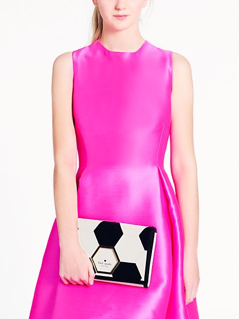 black and white, clutch, kate spade new york, pattern, fashion, bag