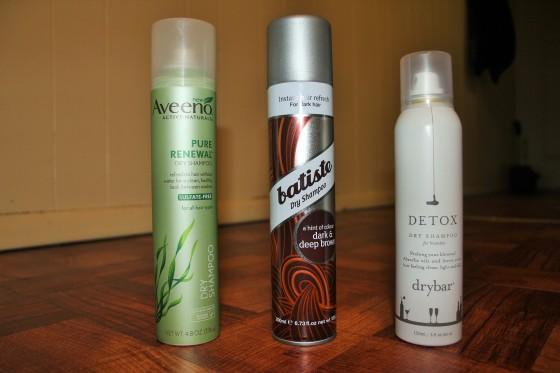 Left-Right Aveeno Pure Renewal Dry Shampoo, Batiste Dry Shampoo (for dark and deep brown hair) and Drybar Detox Dry Shampoo for brunettes