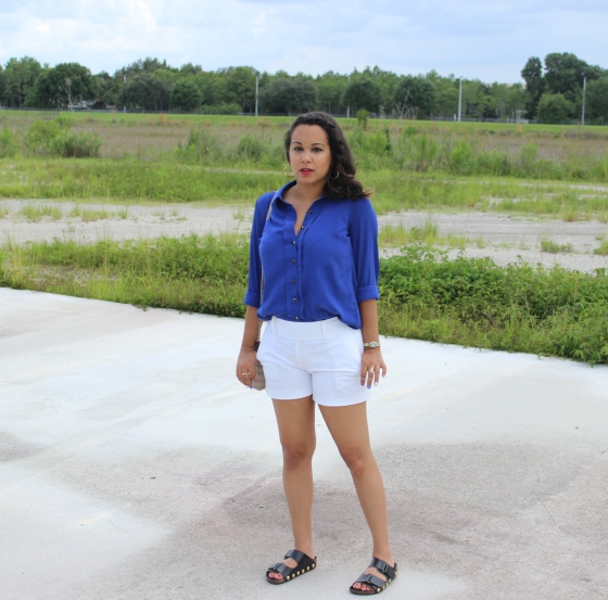 faux birkenstocks, royal blue blouse,