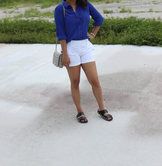 faux birkenstocks, royal blue blouse