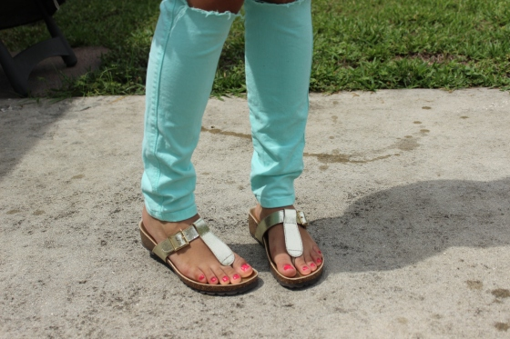 gold, sandals, faux birkenstocks, cork, thong, casual