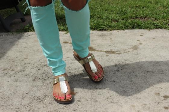 gold, sandals, faux birkenstocks, cork, thong, casual