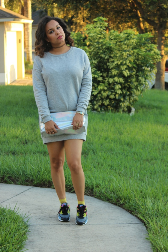 h&M, hm, air max, nikes, blogger, fashion, sweatshirt dress, holographic, clutch, ootd,ootn