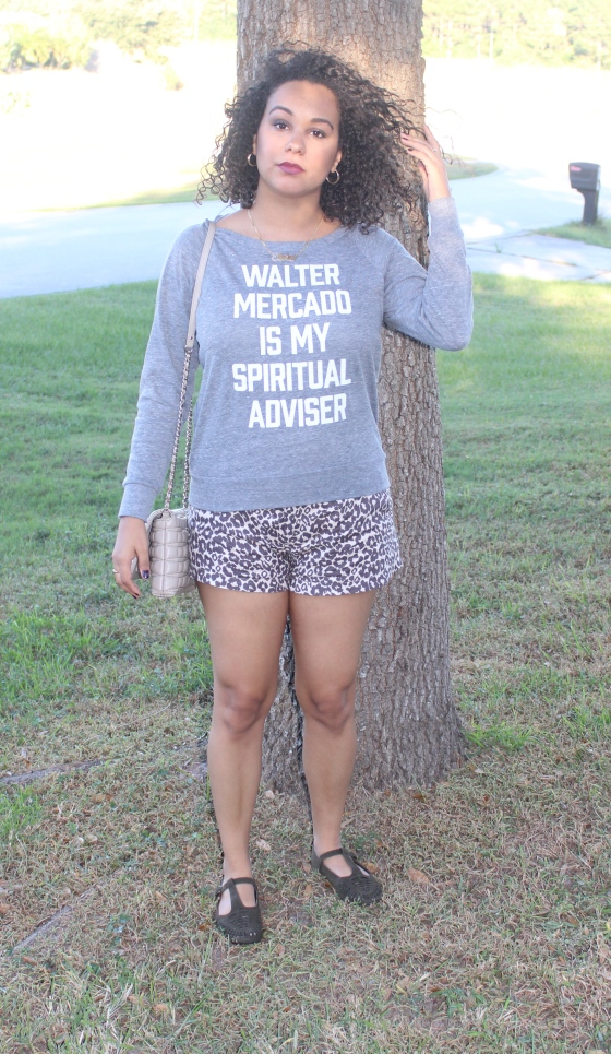 walter mercado, peralta project, graphic t shirt, sweater, jumper, leopard, shorts, fall, kate spade, neutral, ootd, fashion