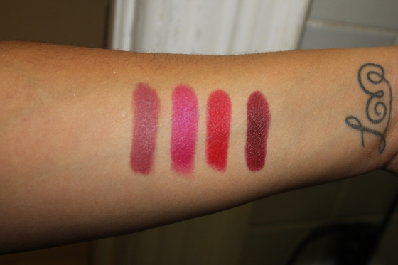 Left-Right: #660 Touch of Spice, #680 Mesmerizing Magenta, #690 Siren in Scarlet, #695 Divine Wine