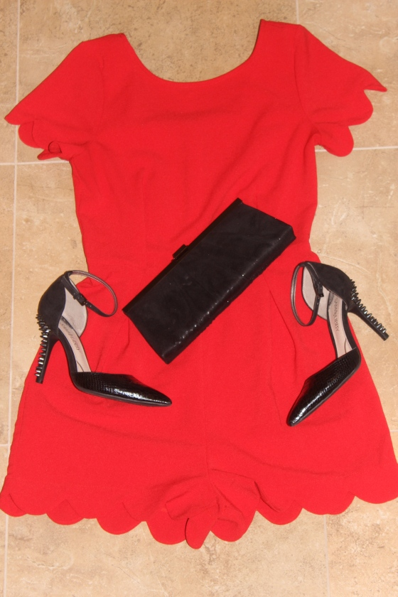 red scalloped jumpsuit, play suit, monteau los angeles, sam & libby spiked dahlia heels
