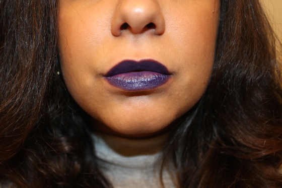 mac and nasty gal, gunnar, lipstick, winter, fall, color, purple, lips, makeup, motd, beauty, blogger, beauty blogger, swatch, on dark lips, dark skin