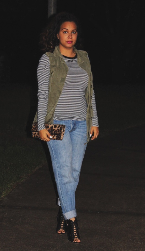 ootd, aldo, casual, stripes h&m, utility vest, boyfriend jeans, lace up booties
