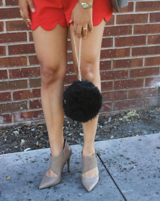 red scallop hem playsuit nude pumps forever 21 furry chain clutch, blazer, jessica simpson