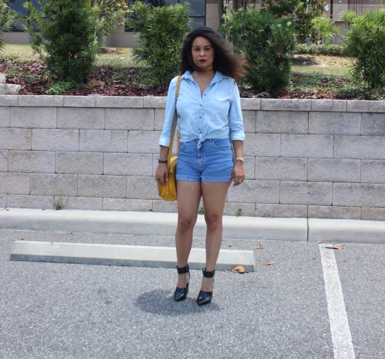 denim on denim, primark, shorts,nasty gal, heels, ootd, fashion, fblogger, blog