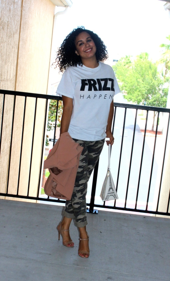 frizz happens, curly hair, ootd, camo, nude heels, kate spade, black and white