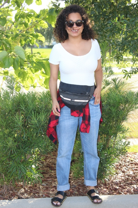ootd, fblogger, fashion, plaid, boyfriend jeans, north face fanny pack