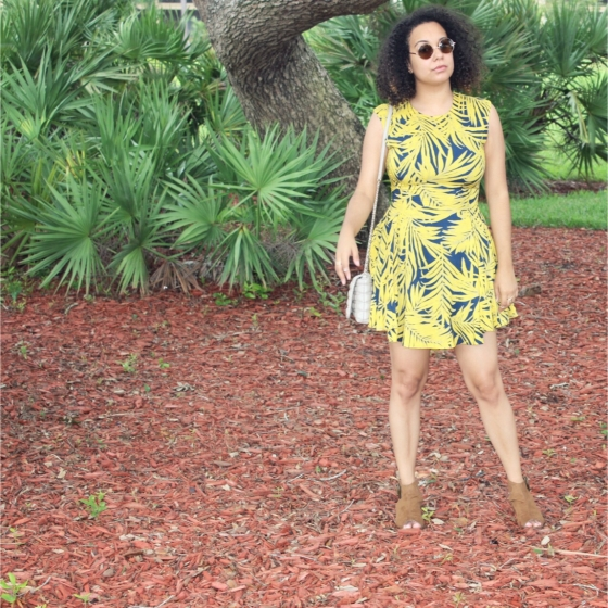 hm, h&m, palm tree print, a-line dress, booties, ootd